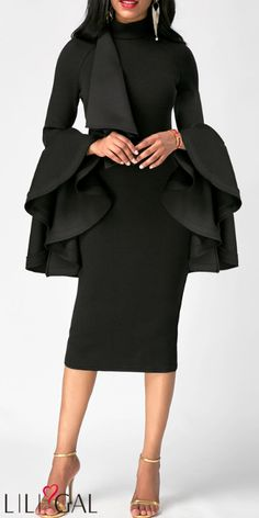 Long Party Dresses Flare Sleeve High Neck Black Skinny Dress - Winter is here, and with it the latest fashion trends Women's Fashion Dresses, Sexy Dresses, Casual Dresses, Dresses With Sleeves, Sleeve Dresses, Fashion Clothes, White Sheath Dress, Sheath Dresses, Slit Dress