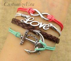 ON SALEInfinity braceletLove braceletanchor charm by CustomizeEra, $5.99