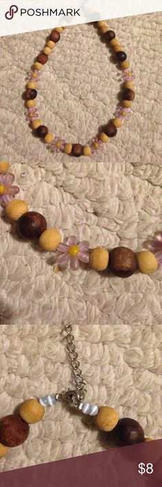 Beaded flower necklace Wood beads with purple flowers. Great condition! Jewelry Necklaces