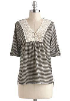 Salt and Peppy top - Multi, Black, Stripes, Casual, Mid-length, Grey, Buttons, Crochet, French / Victorian, 3/4 Sleeve, V Neck