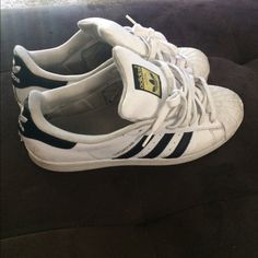 pretty nice f264c 37310 Adidas Shoes   Adidas Shell Toes   Color  Black White   Size  10. Black  White GoldNormal ...