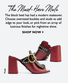 Net-A-Porter Shoes 2016, Net A Porter, Luxury Fashion, Womens Fashion, Block Heels, Prada, Studs, Beauty, Shopping