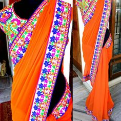"""ORANGE SAREE  A vibrant orange saree with multicolor thread and mirror work gujrati border. A matching gujrati work blouse.  Price 2900 INR  #navabynabanisha #saree #saris#indianwear #india #fashion #bridal"" Photo taken by @nava_by_nabanisha on Instagram, pinned via the InstaPin iOS App! http://www.instapinapp.com (09/06/2015)"