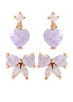 Betsey Johnson  Bow  Heart Duo Stud Earring Set