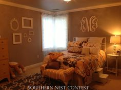 """My 14 year old daughter, Riley, babysat many hours to earn enough money to redo her room. She was so excited to purchase her XL Southern Nest Monogram to go over her bed. When she hung it up she said, ""my room is now complete."" -Robin"
