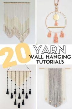 20 Easy DIY Yarn Wall Hanging Crafts | Crafty Blog Stalker