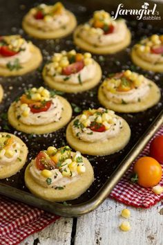 Honey Shortbread Bites with Smoky Cream Cheese, Sweet Corn & Tomatoes - www.afarmgirlsdabbles.com