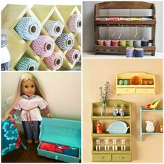 I have got to show my girls these cute ways we can repurpose an old spice rack. Love the little doll dresser!