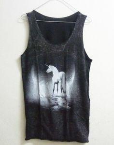 Unisex Stone washed Tank top Cotton size M Black Unicorn horse fantasy shirt men tank top women singlet sleeveless