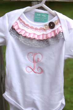 Baby Girl Monogrammed Ruffle Top Onsie by KatesCornerBoutique