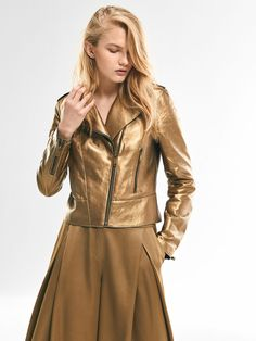 Autumn Spring summer 2017 Women´s LIMITED EDITION GOLD BIKER JACKET at Massimo Dutti for 398. Effortless elegance!