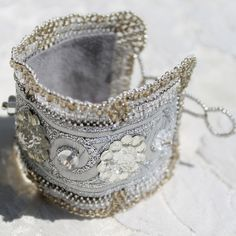 Jewelry Bracelet Embroidered Textile Cuff seed beads wedding bracelet white silver vintage buttons handmade ribbon. $50.00, via Etsy.