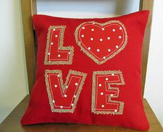 Valentines Day Red LOVE Burlap throw Pillow cover with canvas. 11 X 11 inches. Couch or chair decorators pillow.
