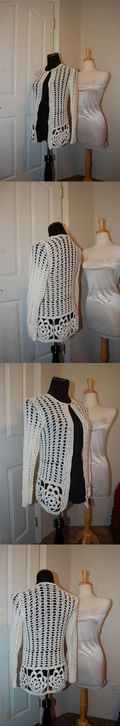 Crochet Cardigan size Small bust 33-35 Motif Hem by LoyesThread