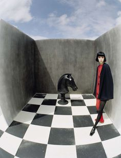 Edie Campbell poses on the chessboard for Vogue Italia December 2015 by Tim Walker Creative Photography, Editorial Photography, Fashion Photography, Artistic Photography, Photography Ideas, Victoria And Albert Museum, Editorial Fashion, Fashion Art, White Editorial