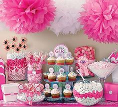 cute pink candy table for baby shower