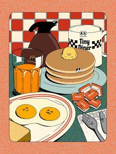 Tiny Diner, Diy Poster, Cute Poster, Posca Marker, Illustration Design Graphique, Illustration Art Drawing, Photo Illustration, Posters Conception Graphique, Arte Peculiar