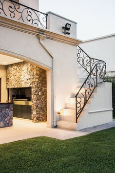 Arquitecto Daniel Tarrio y Asociados, Casa 16 - Zinc Tutorial and Ideas Railing Design, Staircase Design, Patio Design, Exterior Design, Exterior Homes, Dream Home Design, Modern House Design, Mediterranean Homes, Mediterranean Architecture