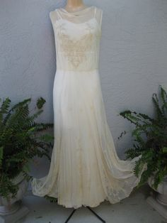 Vintage 1930's White English Tulle and Embroidered Dress with Snowflakes Wedding Bridal. $895.00, via Etsy.