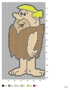 THE FLINTSTONES BARNEY RUBBLE WALL HANGING Plastic Canvas Crafts, Plastic Canvas Patterns, Cross Stitch Designs, Cross Stitch Patterns, Perler Bead Emoji, Tooth Fairy Box, Beaded Banners, Filet Crochet Charts, Canvas Designs