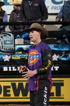 Dickies Bullfighter Jesse Byrne during the Championship round of the Billings Built Ford Tough series PBR.