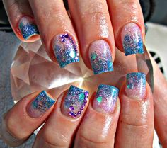 Blue and purple acrylic nails