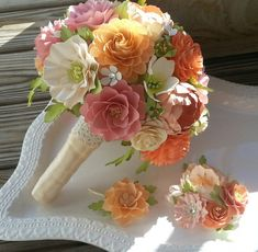 Paper Flower Bouquet Designed by Anna Fearer - Shades of Peach and Pinks - Country Chic - Shabby Chic