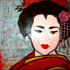 Mineko - 100x100 cm. Acrilc on canvas #GEISHA