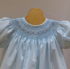 Smocked Bishop Blue Batiste Dress New born - 3 month, 6 month,  12 months