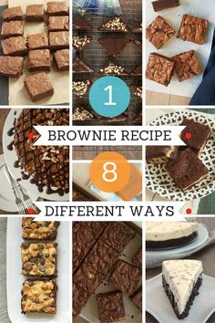 Starting with a basic brownie recipe, you can make a whole slew of delicious chocolate desserts! A handy collection to reference when you want to change up your brownie game! - Bake or Break
