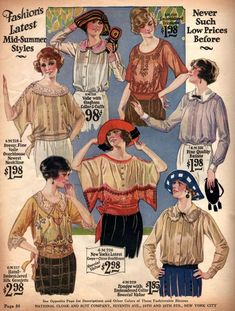 Explore the history of women's blouses, shirts, tunics, and tops to pair with skirts and knicker pants. 20s Fashion, Edwardian Fashion, Fashion History, Retro Fashion, Vintage Fashion, 20s Inspired Fashion, 1918 Fashion, Gothic Fashion, Fashion Outfits