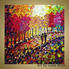 Landscape Fall Original Painting Lights Trees by LUIZAVIZOLI