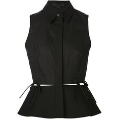 Alexander Wang sleeveless peplum blouse (4.520 ARS) ❤ liked on Polyvore featuring tops, blouses, shirts, black, blusas, no sleeve shirt, sleeveless peplum top, cotton blouse, sleeveless shirts and placket shirt