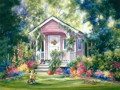 With her passion for beauty, color and style, American painter Marty Bell was a prolific and influential artist. Her work has been internationally collected and she enjoyed the respect of both her peers and fine art collectors. Small Paintings, Colorful Paintings, Beautiful Paintings, Pink Playhouse, Belle Image Nature, Decoupage, Bell Art, Gif Animé, American Artists
