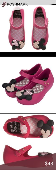 Mini Melissa Minnie and Mickey shoes New in box for toddler size 9 hot pink color price firm Mini Melissa Shoes Dress Shoes