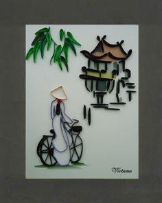 Shop mỹ nghệ-Tranh giấy xoắn-Tranh giấy 20cm x 25cm-Tranh giấy xoắn A55