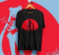 NEW USAGI SAILOR MOON RED MOON BLACK T-Shirt Unisex Size S,M,L,XL #Unbranded #ShortSleeve