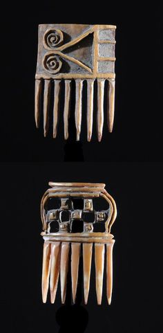 Africa | 'Afe' combs from the Ashanti people of Ghana | Ivory or bone | ca. 1950