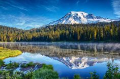 Mt. Rainier and Reflection Lake jigsaw puzzle in Great Sightings puzzles on TheJigsawPuzzles.com