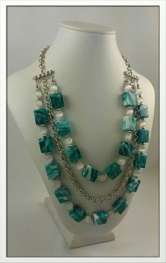 Summer 3 strand Creamy Teal Necklace with extender