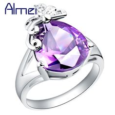 Find More Rings Information about aneis gold 18k,Butterfly Red/Purple Stone Crystal Wedding Band,anel casamento Bijoux,anneau de mariage Jewelry, silver ring J095,High Quality ring plain,China ring mould Suppliers, Cheap ring wrench from Almei Jewelry Store on Aliexpress.com