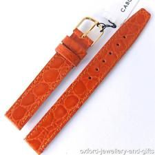 14mm CABOUCHON CROC GRAIN TAN  PATENT LEATHER WATCH STRAP. GOLD /SIL