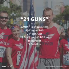 """This WOD, created for """"WOD With Warriors,"""" as a functional fitness tribute workout held twice a year on Veterans and Memorial Day in the US - """"to honor our Nation's' Warriors, past, present and future."""" The 21-minute workout and 21 repetitions signify a 21-gun salute, with an exercise for each of the five Branches of the Military. A 21 Gun Salute is the US' highest display of honor, appropriately reserved for Fallen troops on Memorial Day."""