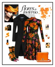 """""""Balenciaga Flower Print Dress & Boot Look"""" by romaboots-1 ❤ liked on Polyvore featuring Marc by Marc Jacobs, Kenneth Cole, Floris, Kosta Boda, Jacquemus, Balenciaga and Diane Von Furstenberg"""