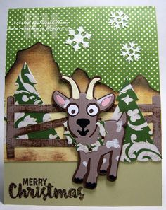 Raquel Mason using the Pop it Ups Western Edges, Fence Pop Stand, Christmas Trees, William the Goat and Merry & Bright clear stamps by Karen Burniston for Elizabeth Craft Designs. - Raquel's Stampin' Blog: Karen Burniston's Designer Challenge - Homegrown Holidays