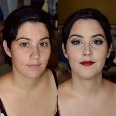 Before and after. All glammed up