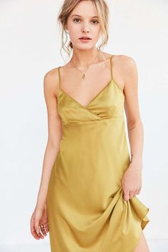 Silence + Noise Alicia Satin Midi Slip Dress - Urban Outfitters