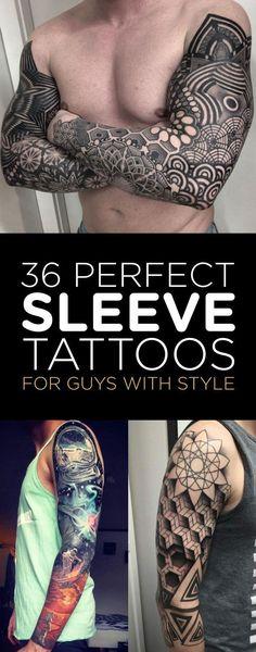 TattooBlend-Sleeve-Tattoos-Guys.jpg 635×1,617 pixeles #maoritattoosmen #TattooIdeasForGuys