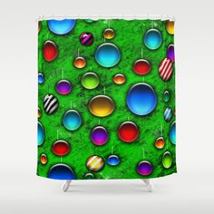 Vivid Glass Orbs Christmas Tree Shower Curtain by Blooming Vine Design - $68.00