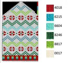 Norwegian hat chart Knitting Charts, Hand Knitting, Knitting Patterns, Knit Mittens, Knitted Hats, Knit Crochet, Crochet Hats, Scandinavian Pattern, Fair Isle Knitting